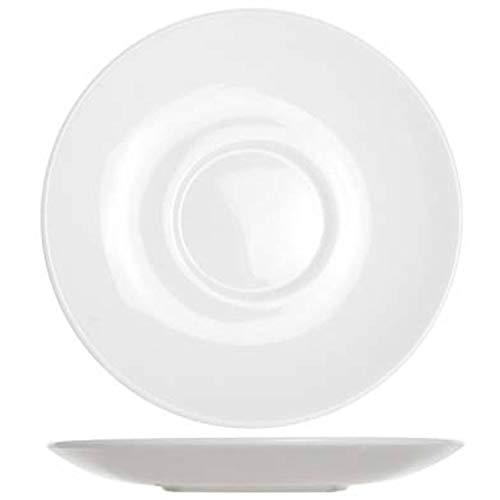Arcoroc 12 x Teller Untertasse Unterteller Glas Off-White Ø 14 cm