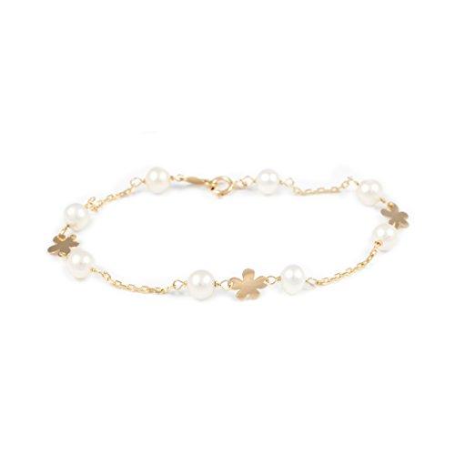 Pulsera Niña oro Flor desigual con perlas