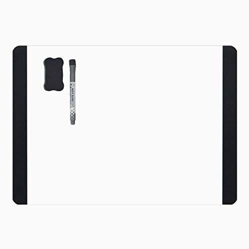Villexun - Pizarra blanca magnética tamaño A4, pizarra blanca suave con imán para nevera/oficina marcador pizarra/adhesivo (horizontal), color negro