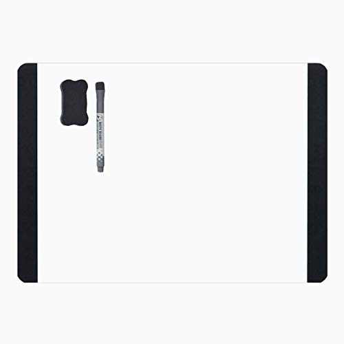 Villexun zelfklevend, magnetisch whiteboard in A4-formaat van zacht materiaal, creatief design, werkt als een koelkastmagneet en is beschrijfbaar met markeerstiften, zwart.