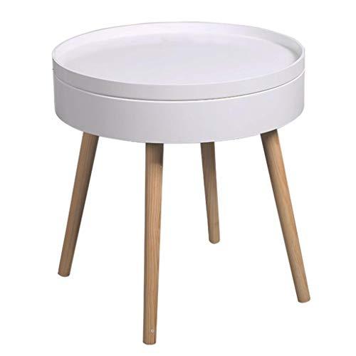 Dongy Pequeño café Sofá Lado del Extremo de la cabecera de la Esquina Tabla de Madera en Movimiento Mini Ronda Dormitorio Moderno Simple (Color, Blanco, tamaño, 49.5x51.5cm)