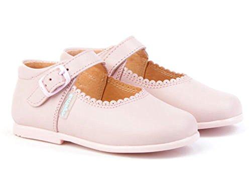 Merceditas de Cuero Color Rosa para Niña. Marca AngelitoS. Modelo 500. Todo Piel. Calzado Infantil Hecho en España. Número 20