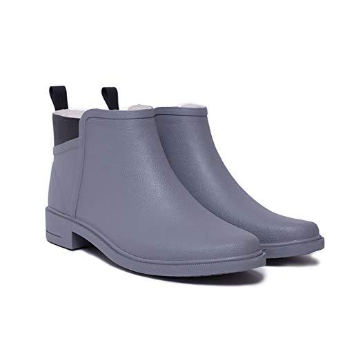 YJxiaobaozi Regenlaarzen Voor Vrouwen Waterdichte Korte Buis Regenlaarzen Grijs Winter Leuke Mode Antislip Vrouwelijke Water Schoenen Regenlaarzen Draag Warme Rubberen Schoenen Chelsea Booties