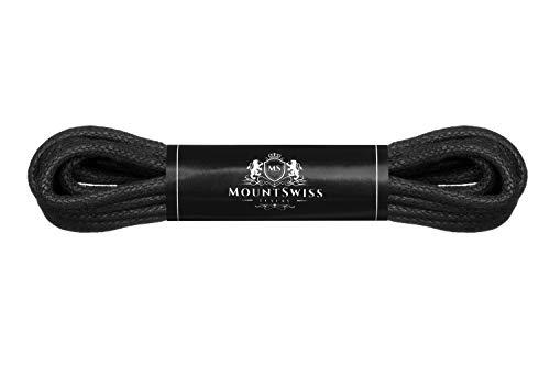 Mount Swiss Luxury Schuhbänder I Wasserabweisende und reißfeste Schnürsenkel rund ø 2-3 mm aus feiner Baumwolle/gewachst Farbe: Black, Länge: 75 cm
