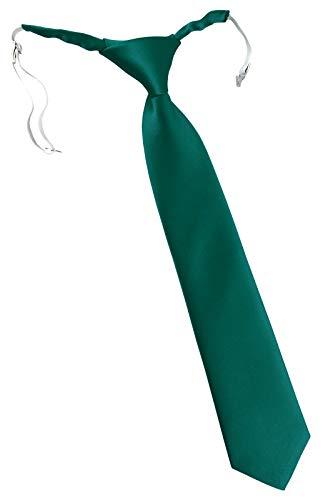 TigerTie Corbata de seguridad de Designer Security en un solo color, preatada con goma elástica. verde petróleo Talla única