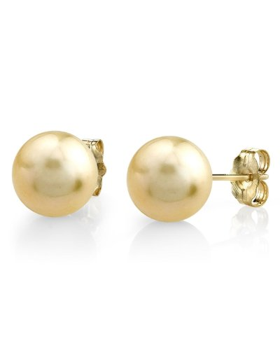 11–12mm Golden South Sea perla cultivada Stud Pendientes en 14K oro–calidad AAA