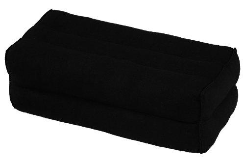 Handelsturm Bloque de Yoga para la meditación (35x15x10 cm, cojín de Soporte con Relleno de kapok), algodón Natural Negro