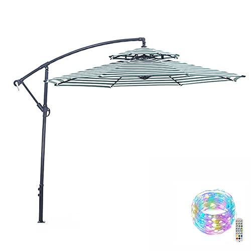 ZYFWBDZ Paraguas de Patio al Aire Libre de 9 pies, Paraguas de Mercado en voladizo con manivela, 8 Varillas Resistentes con Luces Decorativas LED de Colores