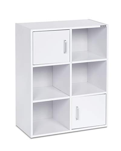 ts-ideen Standregal Bücherregal Sideboard Buchregal Holz Weiß 80 x 62 cm