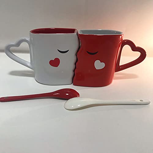 Anjiyoyo Set of 2 Creative Coffee Cups Double Bowl Ceramic Bowl Kiss Valentine's Day Couple Cups and Mugs High-grade Ceramics Mug Milk Water Tea Cup Drinkware Home Office Cup Lover Gift