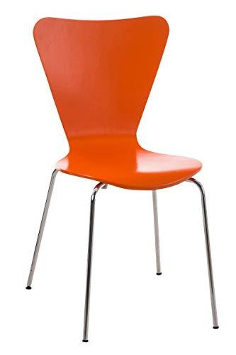 Silla de Visita Apilable Calisto I Silla de Comedor Apilable & Asiento de Madera I Silla de Cocina con Base de Metal I Color:, Color:Naranja
