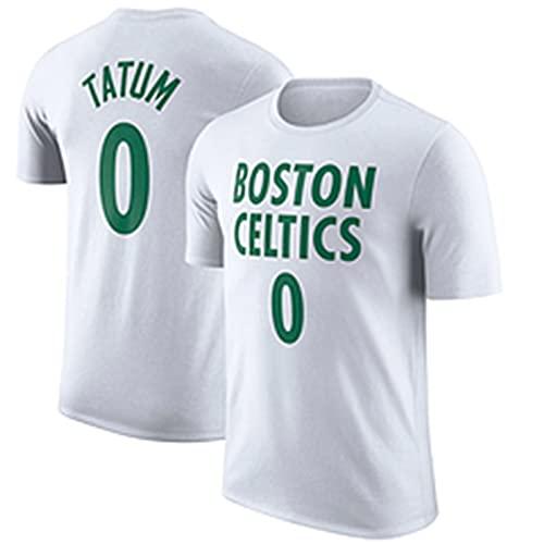 UIQB Boston Celtics No. 0 Jayson Tatum Baloncesto Camiseta, versión de la Ciudad Competición de Hombres Chaleco 100% poliéster Absorbente y Secado rápido, Adecuado para l White-S