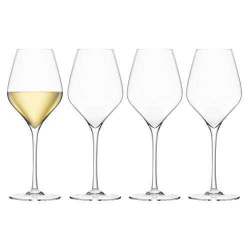 Final Touch Pack of 4 100% Lead Free Crystal Wine Glasses, White Wine Glasses Cut Glass with Major 'Ash Titanium Reinforced for added durability High 24 cm 440ml –Pack of 4