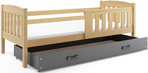 Kinderbett Einzelbett Quba 190x90cm aus Kiefernholz + Matratze, Schublade und Lattenrost (Kiefer + grau)