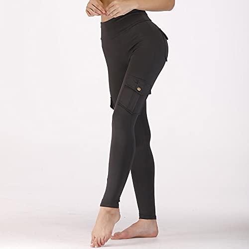 Astemdhj Leggings Pantalones Fitness Yoga Leggings De Entrenamiento De Gimnasio Sin Costuras para Mujer Pantalones Casuales Push Up Leggings De Bolsillo De Cintura Alta Levantamiento De BOT