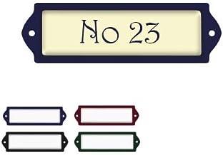 Naambord Emaille-look 2,5x8CMMM Met Beige Achtergrond, naamplaatje, naambordje brievenbus, huisnummer brievenbus, naambord...
