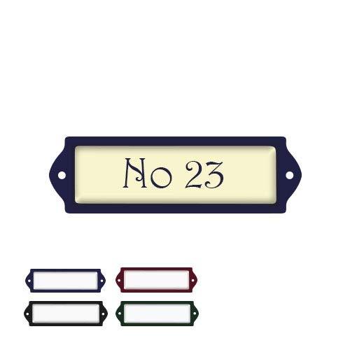 Naambord Emaille-look 80x25MM Met Beige Achtergrond | Naamplaat Voordeur | Topkwaliteit | Naamplaatje brievenbus | Naamplaatje bestellen | Gratis verzending!