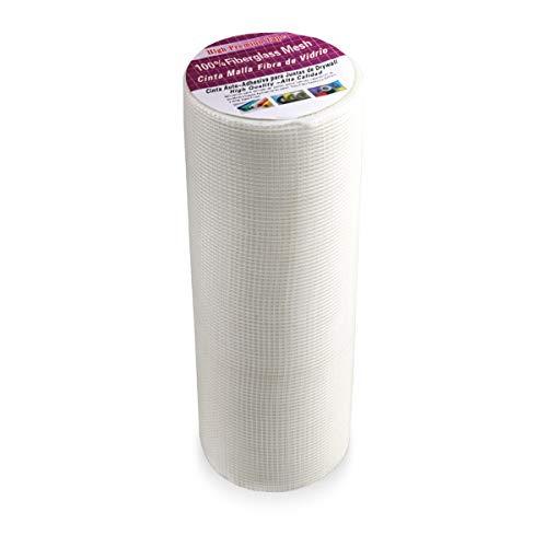Rouleau Auto-Adhésif de Haute Résistance de Tissu de Maille de Tissu de Fibre de Verre, Bande de Couture de Conseil dUWECAN pour la Réparation de Cloison Sèche-30 cm X 25 m(12″X 82′)