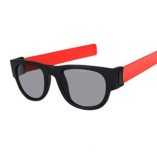 NJJX Gafas De Sol De Muñeca Plegables Para Mujer, Pulsera Con Bofetadas, Gafas De Sol, Pulsera Enrollada Para Hombre Y Mujer, Vintage, Cuadrado, Negro, Rojo