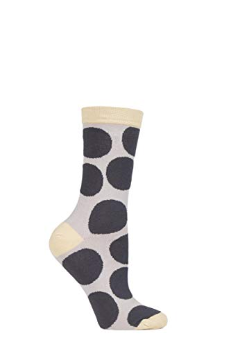Damen 1 Paar Braintree Luna Große punkte Bambus & Bio-Baumwolle Socken-Kohle 37-41 Damen