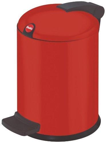Hailo Design S, Mülleimer aus Stahlblech, 4 Liter, leise und dicht schließender Deckel, breites Fußpedal, made in Germany, 0704-059