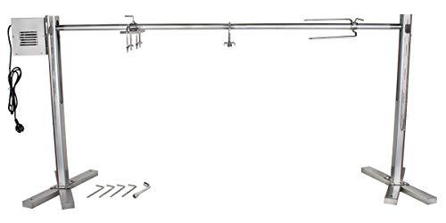 Beeketal 'BSG150-SG' Stand Spanferkelgrill für Feuerstellen oder Lagerfeuer mit Spießgrill Motor (ca. 4 U/Min), stabile 4-fach höhenverstellbare Edelstahl Konstruktion inkl. Boden Befestigungshaken