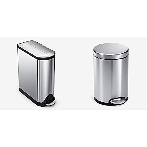 simplehuman 40 Liter / 10.6 Gallon Stainless Steel Dual Compartment Butterfly Lid Kitchen Step Trash Can Recycler & Gallon Round Bathroom Step Trash Can, 4.5 Liter / 1.2 Gallon
