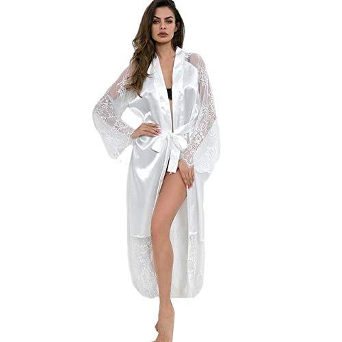 2020 Frauen Roben Kimono Satin Nachtwäsche Pyjamas Sexy Pyjamas Seide Nachtkleid Braut Hochzeit Robe Nachthemd Bademantel Home-White-5-M
