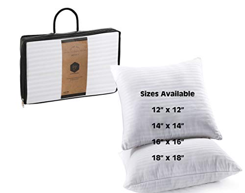 MF International Cushion Inserts Square Set of 2 | Hypoallergenic Cushion Pads Inner Stuffer with Hollowfibre Filling | 14x14 in / 35x35 cm | White Satin Stripe Cover (14' x 14')