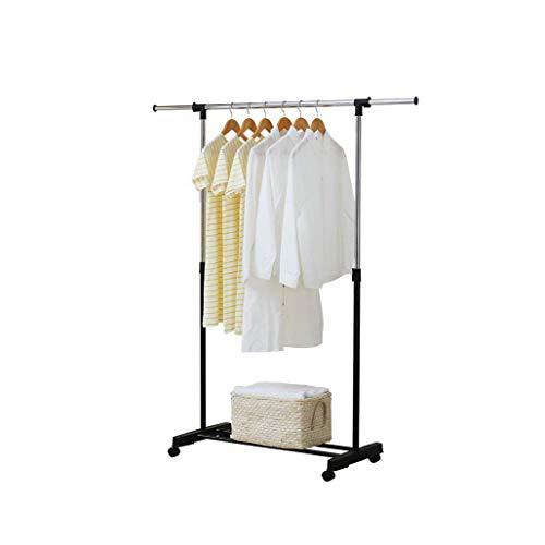 YLCJ Garderobestandaard voor Terra stang Singola Blocccaggi en klem voor zwarte kaarten van roestvrij staal, universele wiel van 50 mm, voor slaapkamer om op te hangen