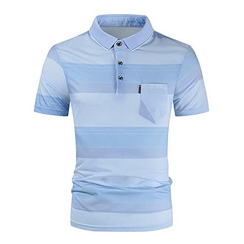 Polo Shirt Hombre Verano Básico Slim Fit Elástica Hombre Shirt Simplicidad Moda Cuadros Bolsillo Botón Placket Manga Corta Diario Deporte Wicking Transpirable Correr Shirt B-Blue1 M