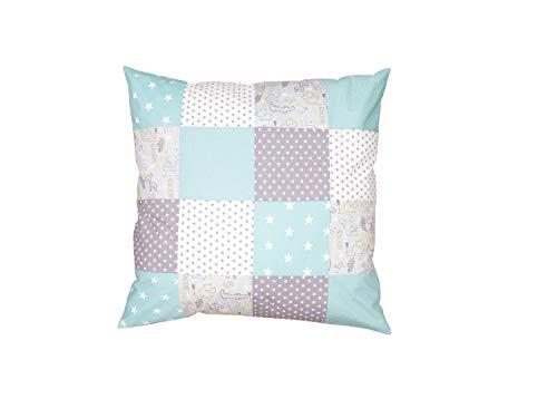 ULLENBOOM ® Baby Bezug 80x80 cm für Bettdecke & Kissen Safari Pfefferminz (Made in EU) - Bezug aus Baumwolle für Babybettwäsche oder als Kissenbezug, ideal im Kinderwagen