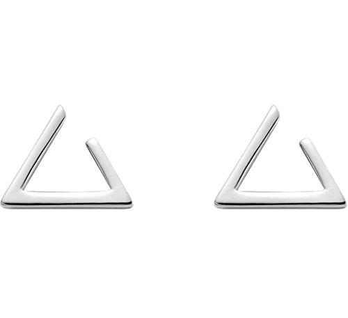 iszie Pendientes de tuerca de plata de ley abierta triángulo