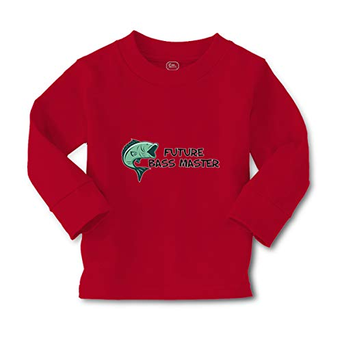 Kids Long Sleeve T Shirt Future Bass Master Fishing Ocean Sea Life Cotton Boy & Girl Clothes Funny Graphic Tee Red Design Only 4T