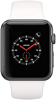 Apple Watch Series 2 Smartwatch 42mm Space Gray Aluminum Case White Sport Band (White Sport Band) (Renewed)