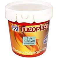 Rugoplast - Pintura plástica mate blanca económica T-150 para paredes de interior, Blanco, 4 L
