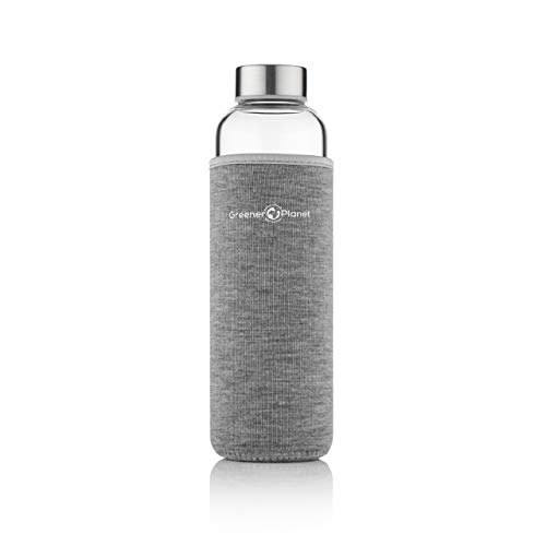 Greener Planet Glass Water Bottle 550ml Eco-Friendly Borosilicate Glass BPA Free Leak-Proof with Neoprene Insulation Carry Sleeve Hot Cold Drinks for Office School Home Travel Sports Yoga