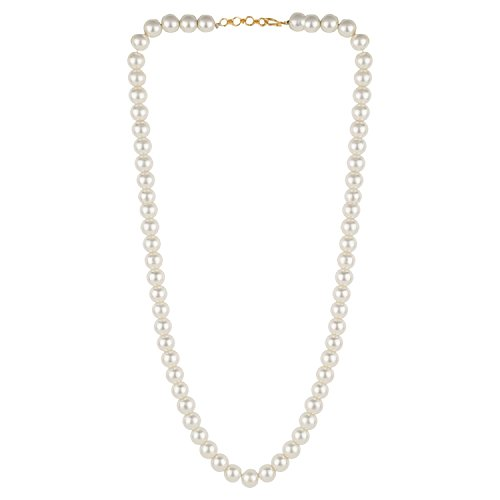 Efulgenz Handcrafted Simulated Pearl Beaded Classic Round Chunky Collar Strand Necklace Fashion Accessories for Women and Girls
