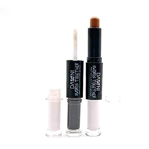 Coffret de maquillage fard à paupières brillant à lèvres fard à paupières poudre correcteur éclaircissant pour la peau brosse de maquillage, ensemble de 7 pinceaux, bâton en plastique à double tête 3