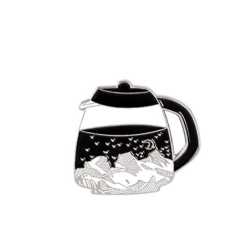 Kaffeekanne Emaille Pins Nachthimmel Star Moon Black Broschen für Frauen Berg Geschenke für Freund Anstecknadel Abzeichen Schmuck