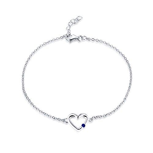 JO WISDOM Pulsera corazón plata 925 mujer con circonita cúbica AAA Septiembre piedra natal zafiro azul
