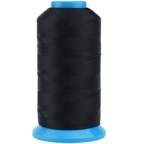 TIHOOD 1500 Yard Size T70#69 Bonded Nylon Sewing Thread for Weaves (Black)