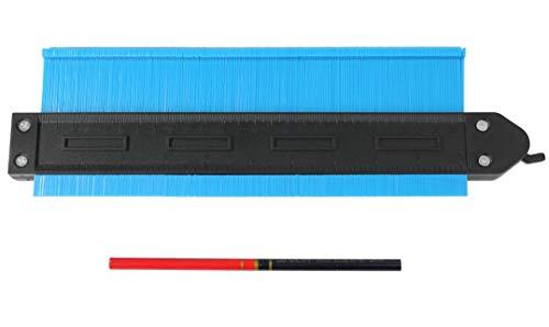 ストッパー メモリ 付 250mm 型取りゲージ 鉛筆付き 目盛り コンターゲージ 曲線 測定工具 カーペット 敷物 角取り DIY