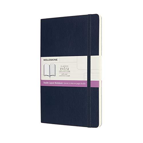 Moleskine NB313SB20 - Cuaderno de doble diseño, páginas en blanco y de rayas, tapa blanda, tamaño grande 13 x 21 cm, color azul zafiro
