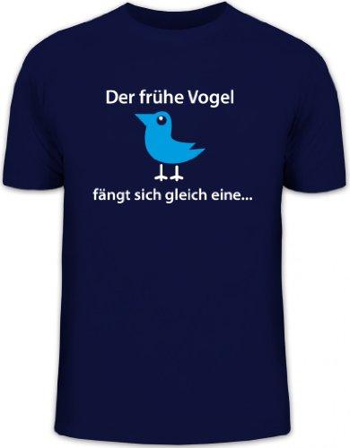 Shirtstreet24, Der frühe Vogel fängt Sich gleich eine, Herren T-Shirt Fun Shirt, Größe: S,dunkelblau