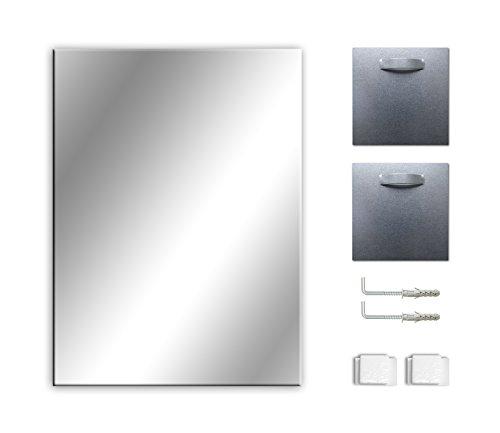 Ramix Spiegel, Rahmenloser, Spiegelfliese, Wandspiegel, Badspiegel, Zimmer, Größe: Breite 50 cm x Höhe 40 cm