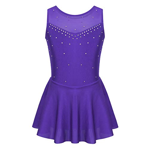 iixpin Vestido Infantil de Danza Baile sin Mangas Brillante Maillot de Patinaje Artístico Traje Bailarina Ejercicio Niñas 6-14 Años Violeta 10 Años