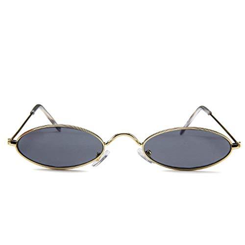 YQDSY Gafas de Sol Ovaladas Sombras Redondas Gafas de Sol Tendencias de Moda Vintage de Moda (M de Oro Gris) Clásico