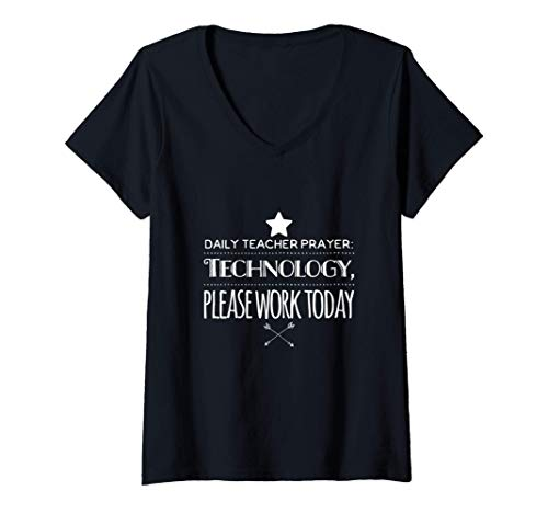 Womens Virtual Teacher Technology Funny Remote Learning V-Neck T-Shirt