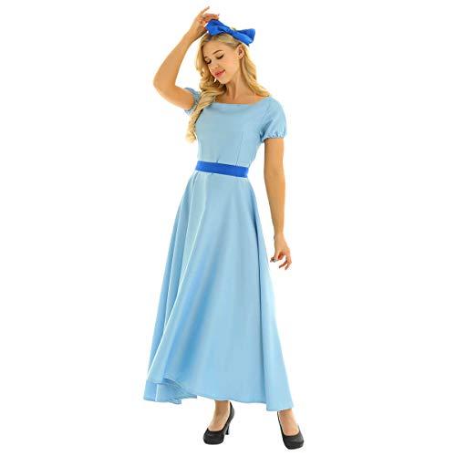IEFIEL Mujer Vestido de Princesa Largo Azul Manga Corta Traje de Fiesta Ceremonia Halloween Cosplay Disfraz de Princesa Elegante para Adultos